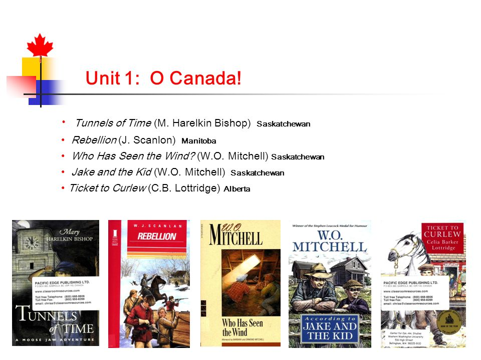 Unit 1: O Canada! Tunnels of Time (M. Harelkin Bishop) Saskatchewan Rebellion (J. Scanlon) Manitoba Who Has Seen the Wind? (W.O. Mitchell) Saskatchewa