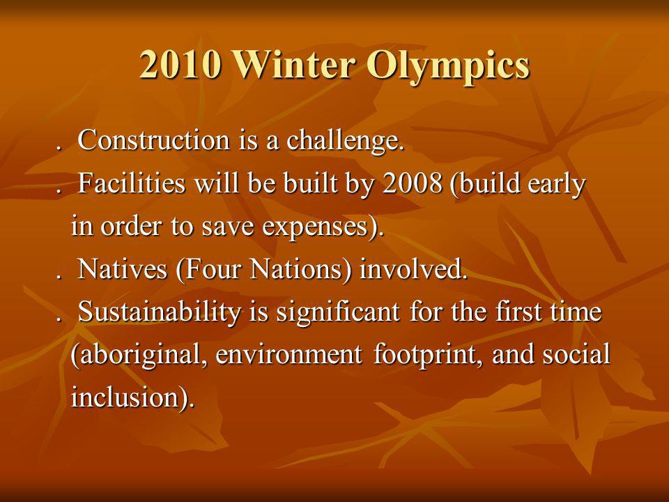 2010 Winter Olympics. Construction is a challenge..