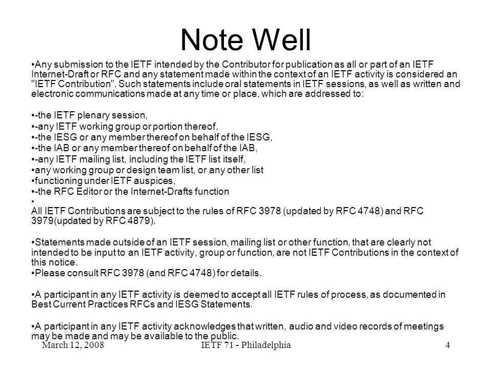 March 12, 2008IETF 71 - Philadelphia5 Agenda Wednesday - WG meeting 1300 – 1305Agenda bashing 1305 – 1310Document status review Work Group Items: 1310 – 1315Lemonade Notifications(draft-ietf-lemonade-notifications-07) 1315 – 1330IMAP NOTIFY (draft-ietf-lemonade-imap-notify-04) 1330 – 1350IMAP CONVERT(draft-ietf-lemonade-convert-16) 1350 – 1351IMAP Sieve (draft-ietf-lemonade-imap-sieve-05) 1351 – 1400Streaming (draft-ietf-lemonade-streaming-04) 1400 – 1401Lemonade Architecture(draft-ietf-lemonade-architecture-01) 1401 – 1405BINARY draft-cridland-urlfetch-binary-01 Grand Finale: 1405 – 1445Lemonade Profile Bis (draft-ietf-lemonade-profile-bis-07) 1445 – 1500Last call schedule / next meeting Friday - IETF Design team meeting Profile-bis comparison/rationalization with OMA MEM requirements