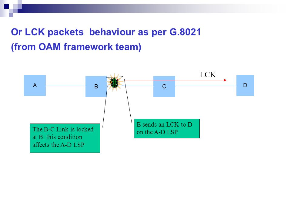Or LCK packets behaviour as per G.8021 (from OAM framework team) A D B C LCK B sends an LCK to D on the A-D LSP The B-C Link is locked at B: this cond