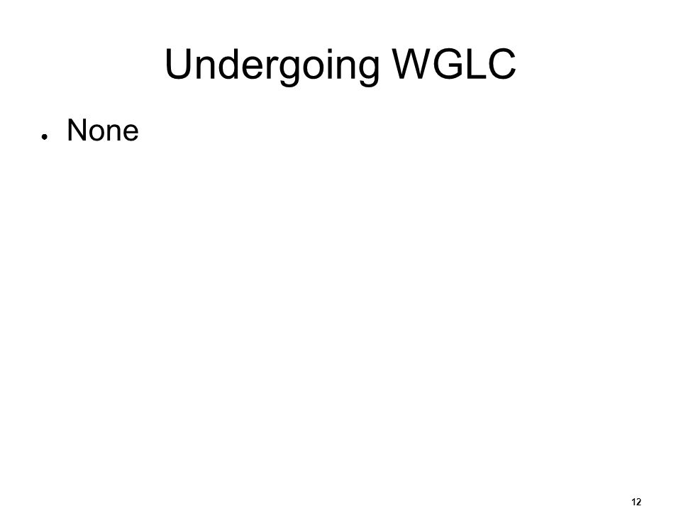 12 Undergoing WGLC None