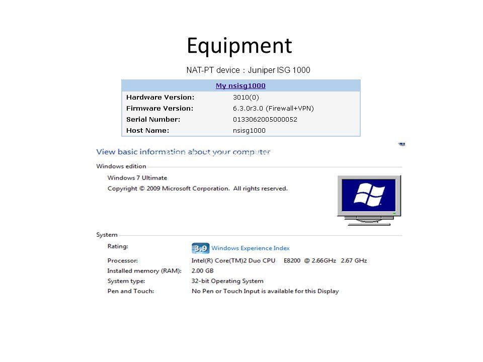 Equipment NAT-PT device Juniper ISG 1000 PC Windows 7
