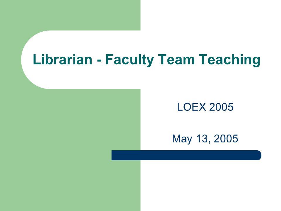 Librarian - Faculty Team Teaching LOEX 2005 May 13, 2005