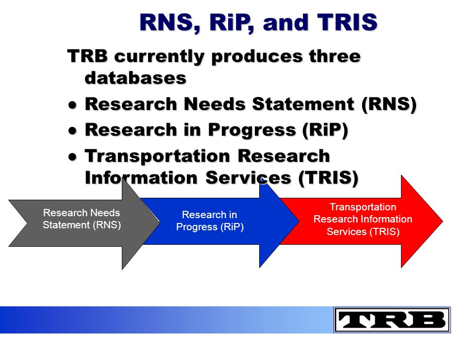 RNS, RiP, and TRIS TRB currently produces three databases Research Needs Statement (RNS)Research Needs Statement (RNS) Research in Progress (RiP)Research in Progress (RiP) Transportation Research Information Services (TRIS)Transportation Research Information Services (TRIS) Research Needs Statement (RNS) Research in Progress (RiP) Transportation Research Information Services (TRIS)