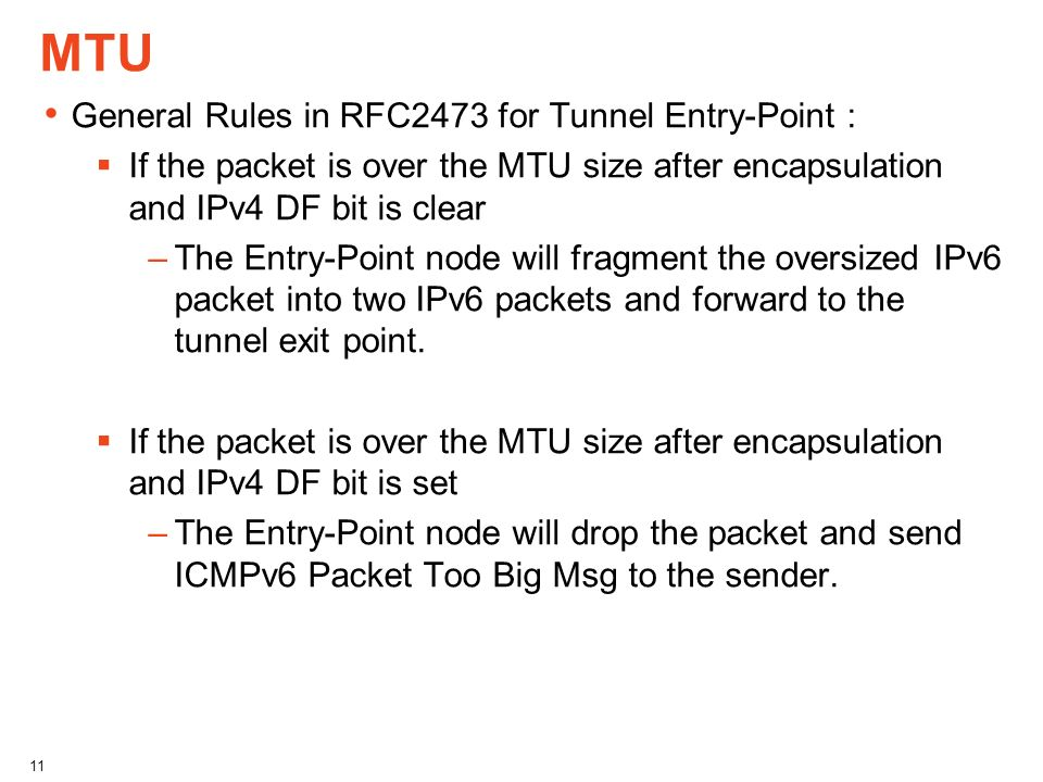 MTU General Rules in RFC2473 for Tunnel Entry-Point : If the packet is over the MTU size after encapsulation and IPv4 DF bit is clear –The Entry-Point