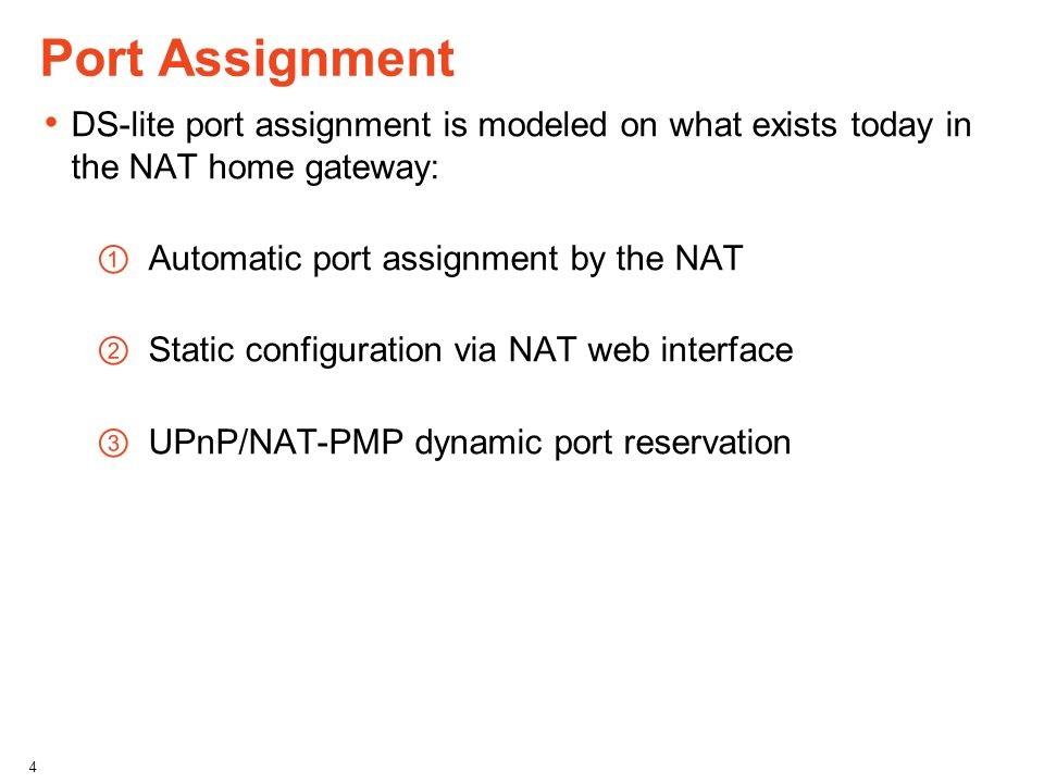 Port Assignment DS-lite port assignment is modeled on what exists today in the NAT home gateway: Automatic port assignment by the NAT Static configura