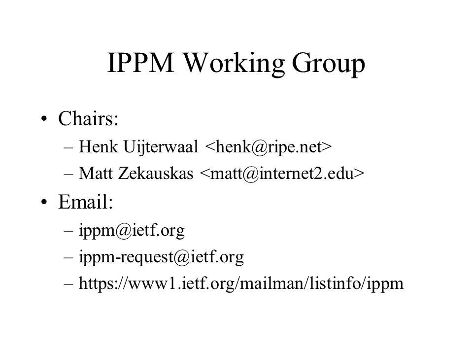 IPPM Working Group Chairs: –Henk Uijterwaal –Matt Zekauskas Email: –ippm@ietf.org –ippm-request@ietf.org –https://www1.ietf.org/mailman/listinfo/ippm