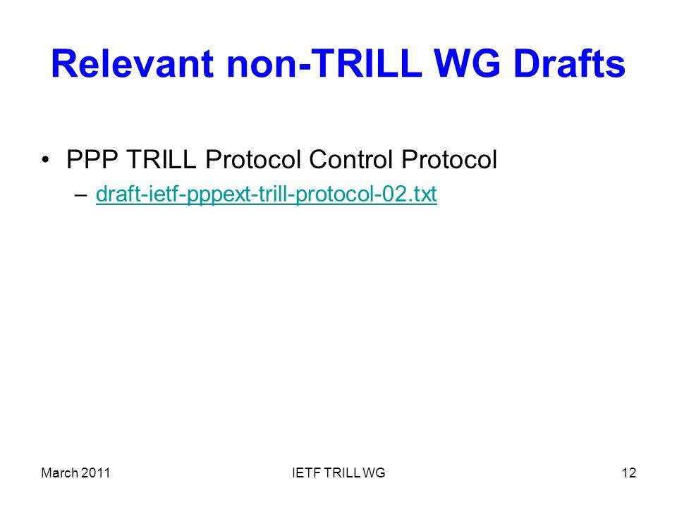 Relevant non-TRILL WG Drafts PPP TRILL Protocol Control Protocol –draft-ietf-pppext-trill-protocol-02.txtdraft-ietf-pppext-trill-protocol-02.txt March 2011IETF TRILL WG12