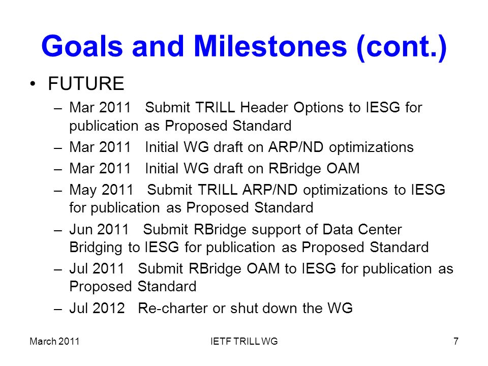 March 2011IETF TRILL WG7 Goals and Milestones (cont.) FUTURE –Mar 2011 Submit TRILL Header Options to IESG for publication as Proposed Standard –Mar 2011 Initial WG draft on ARP/ND optimizations –Mar 2011 Initial WG draft on RBridge OAM –May 2011 Submit TRILL ARP/ND optimizations to IESG for publication as Proposed Standard –Jun 2011 Submit RBridge support of Data Center Bridging to IESG for publication as Proposed Standard –Jul 2011 Submit RBridge OAM to IESG for publication as Proposed Standard –Jul 2012 Re-charter or shut down the WG