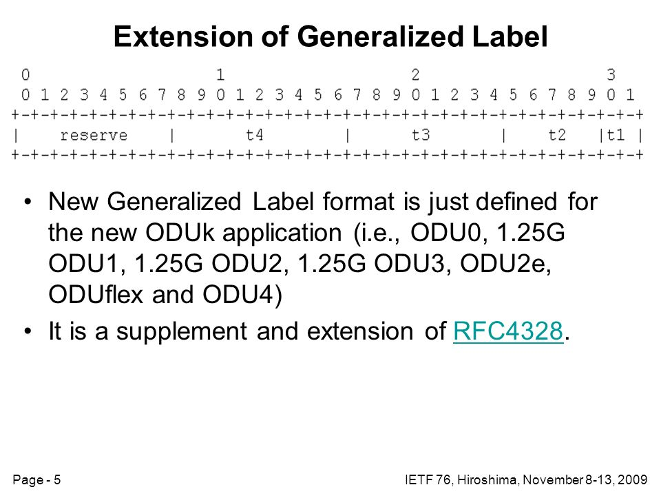 Page - 5IETF 76, Hiroshima, November 8-13, 2009 Extension of Generalized Label New Generalized Label format is just defined for the new ODUk application (i.e., ODU0, 1.25G ODU1, 1.25G ODU2, 1.25G ODU3, ODU2e, ODUflex and ODU4) It is a supplement and extension of RFC4328.RFC4328