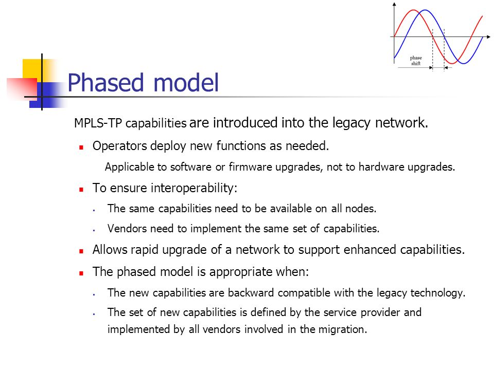 Phased model MPLS-TP capabilities are introduced into the legacy network.