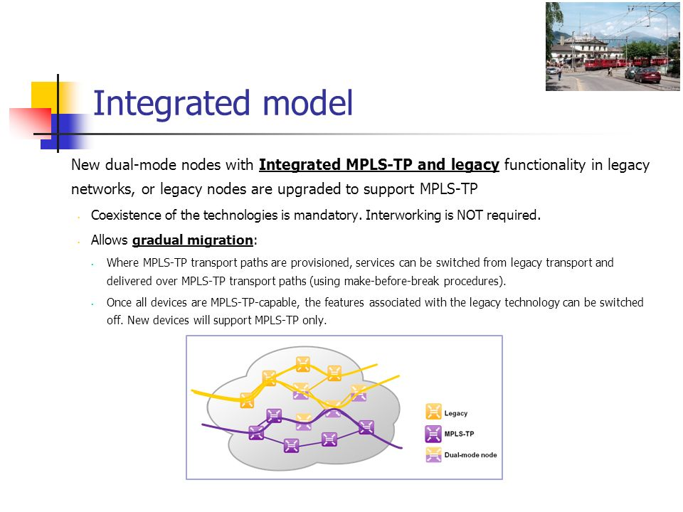 Integrated model New dual-mode nodes with Integrated MPLS-TP and legacy functionality in legacy networks, or legacy nodes are upgraded to support MPLS-TP Coexistence of the technologies is mandatory.
