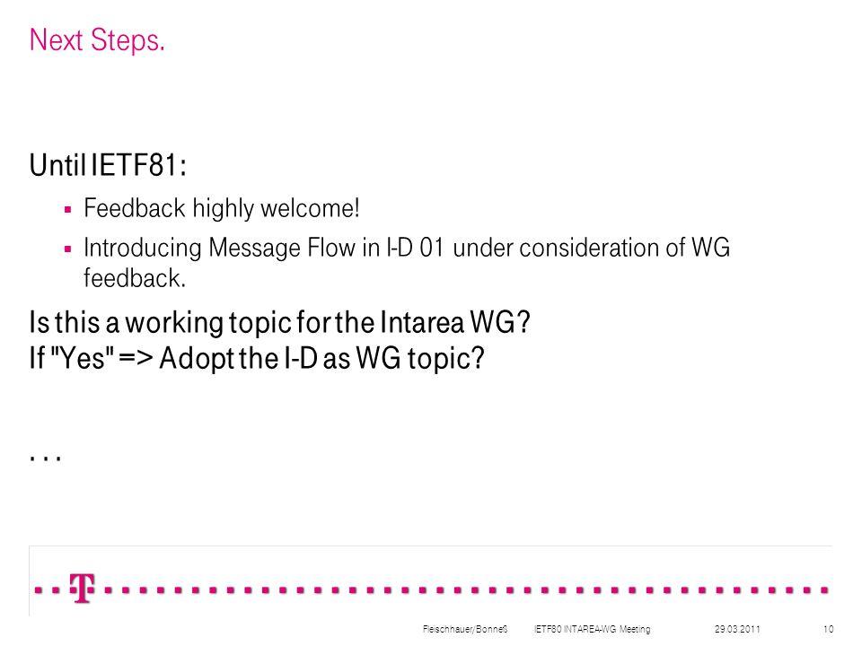 29.03.2011Fleischhauer/Bonneß IETF80 INTAREA-WG Meeting10 Next Steps.