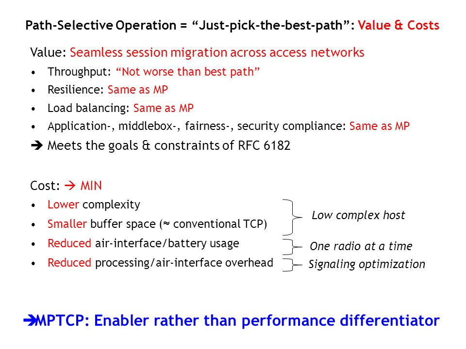 Value: Seamless session migration across access networks Throughput: Not worse than best path Resilience: Same as MP Load balancing: Same as MP Applic