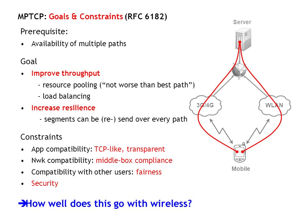 MPTCP: Goals & Constraints (RFC 6182) Prerequisite: Availability of multiple paths Goal Improve throughput - resource pooling (not worse than best pat