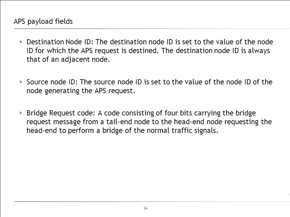 14 APS payload fields Destination Node ID: The destination node ID is set to the value of the node ID for which the APS request is destined. The desti