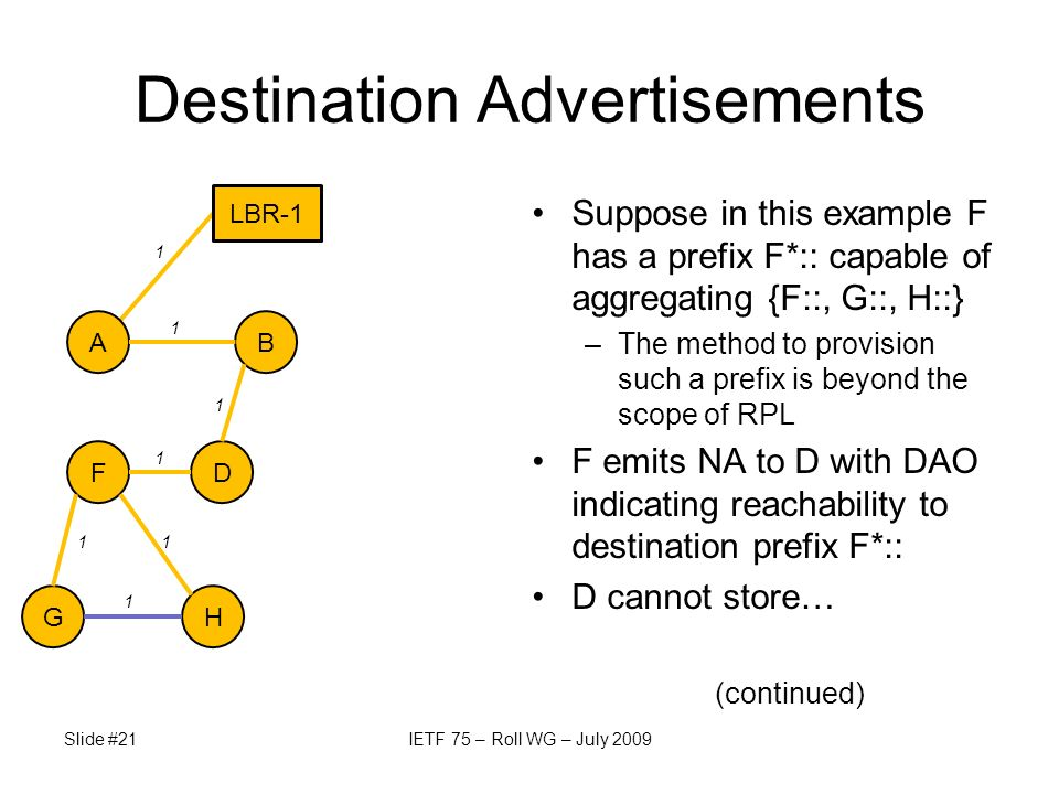 G Slide #21IETF 75 – Roll WG – July 2009 Destination Advertisements Suppose in this example F has a prefix F*:: capable of aggregating {F::, G::, H::} –The method to provision such a prefix is beyond the scope of RPL F emits NA to D with DAO indicating reachability to destination prefix F*:: D cannot store… (continued) AB DF H 1 LBR