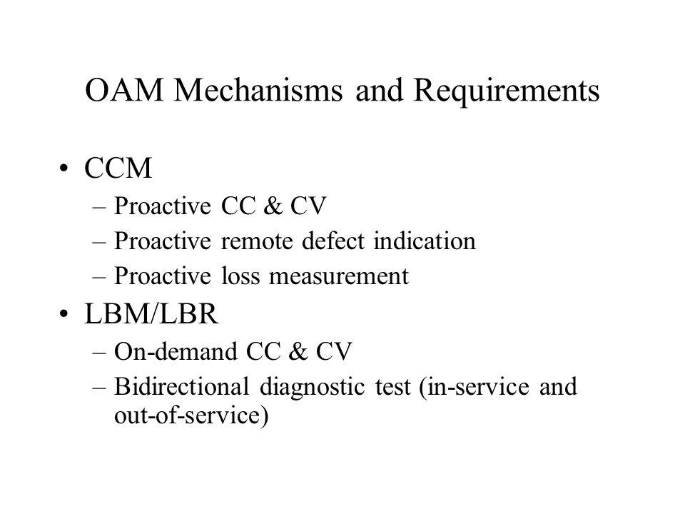 OAM Mechanisms and Requirements CCM –Proactive CC & CV –Proactive remote defect indication –Proactive loss measurement LBM/LBR –On-demand CC & CV –Bid