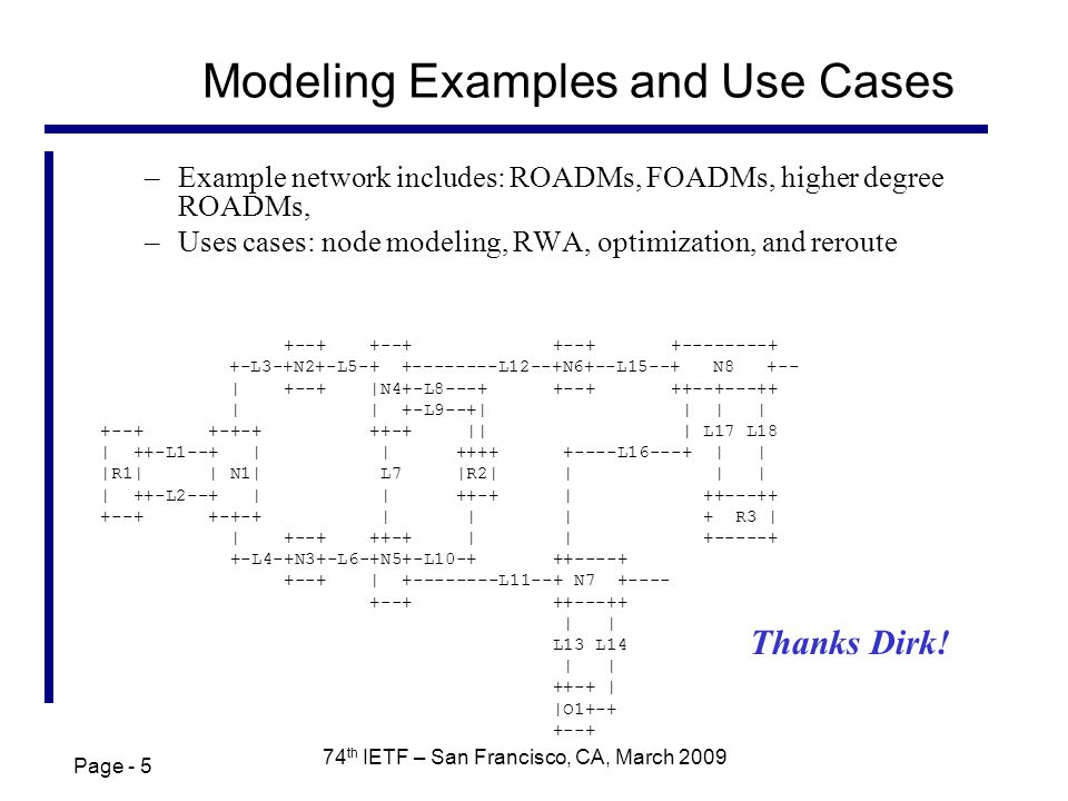 Page - 5 74 th IETF – San Francisco, CA, March 2009 Modeling Examples and Use Cases –Example network includes: ROADMs, FOADMs, higher degree ROADMs, –Uses cases: node modeling, RWA, optimization, and reroute +--+ +--+ +--+ +--------+ +-L3-+N2+-L5-+ +--------L12--+N6+--L15--+ N8 +-- | +--+ |N4+-L8---+ +--+ ++--+---++ | | +-L9--+| | | | +--+ +-+-+ ++-+ || | L17 L18 | ++-L1--+ | | ++++ +----L16---+ | | |R1| | N1| L7 |R2| | | | | ++-L2--+ | | ++-+ | ++---++ +--+ +-+-+ | | | + R3 | | +--+ ++-+ | | +-----+ +-L4-+N3+-L6-+N5+-L10-+ ++----+ +--+ | +--------L11--+ N7 +---- +--+ ++---++ | | L13 L14 | | ++-+ | |O1+-+ +--+ Thanks Dirk!