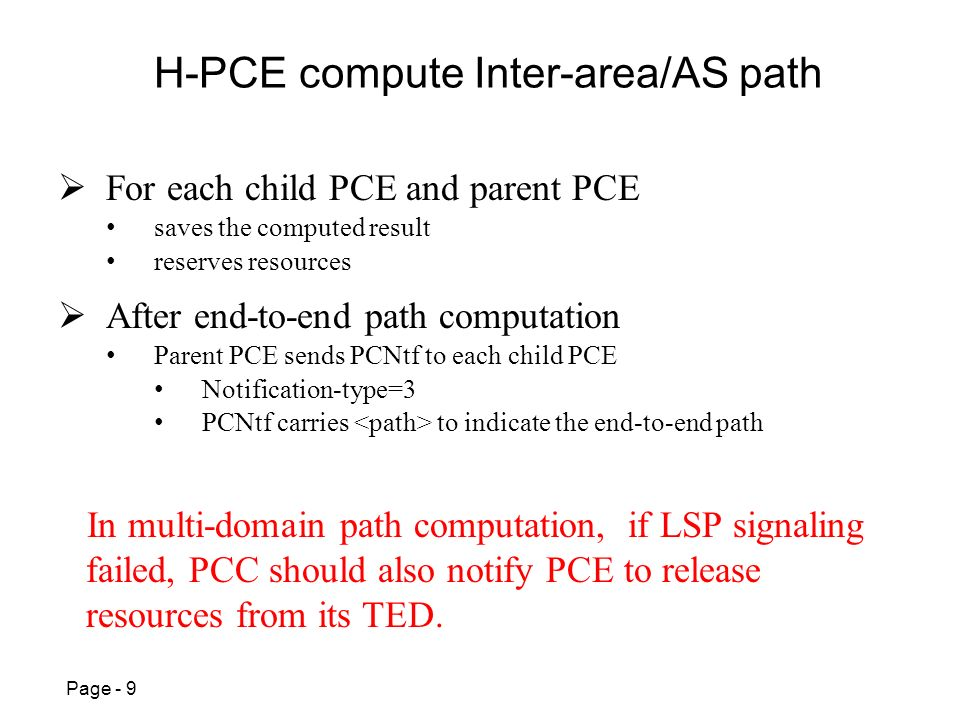 Page - 9 H-PCE compute Inter-area/AS path After end-to-end path computation Parent PCE sends PCNtf to each child PCE Notification-type=3 PCNtf carries to indicate the end-to-end path For each child PCE and parent PCE saves the computed result reserves resources In multi-domain path computation, if LSP signaling failed, PCC should also notify PCE to release resources from its TED.