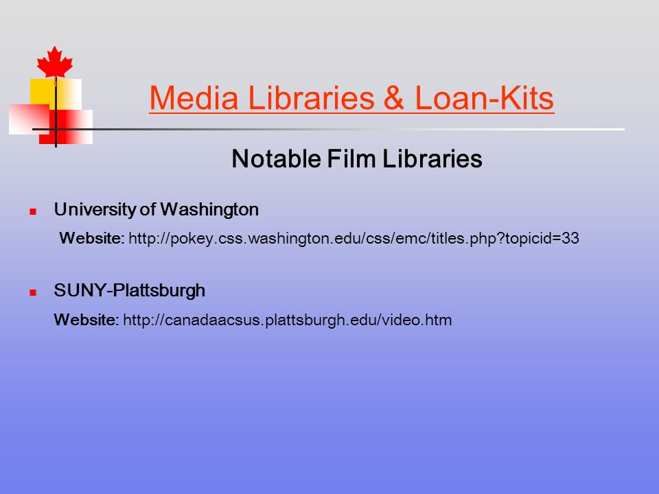 Media Libraries & Loan-Kits Notable Film Libraries University of Washington Website:   topicid=33 SUNY-Plattsburgh Website: