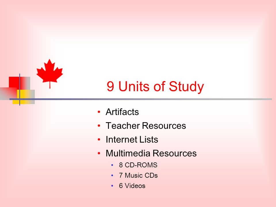 9 Units of Study Artifacts Teacher Resources Internet Lists Multimedia Resources 8 CD-ROMS 7 Music CDs 6 Videos