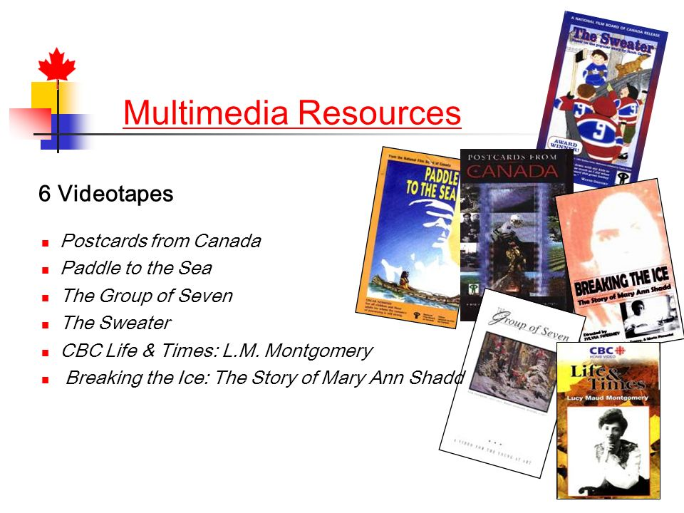 Multimedia Resources 6 Videotapes Postcards from Canada Paddle to the Sea The Group of Seven The Sweater CBC Life & Times: L.M.