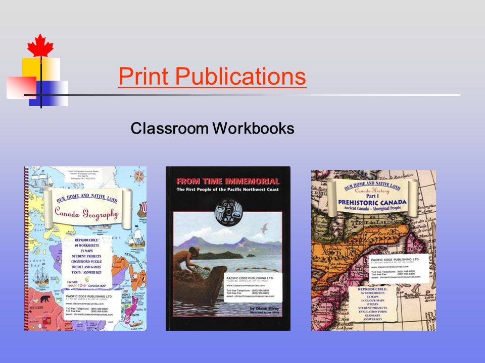 Print Publications Classroom Workbooks