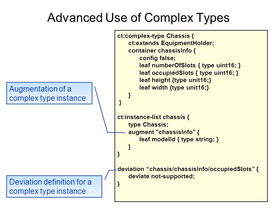 Advanced Use of Complex Types 10 ct:complex-type Chassis { ct:extends EquipmentHolder; container chassisInfo { config false; leaf numberOfSlots { type uint16; } leaf occupiedSlots { type uint16; } leaf height {type unit16;} leaf width {type unit16;} } ct:instance-list chassis { type Chassis; augment chassisInfo { leaf modelId { type string; } } deviation chassis/chassisInfo/occupiedSlots { deviate not-supported; } Augmentation of a complex type instance Deviation definition for a complex type instance