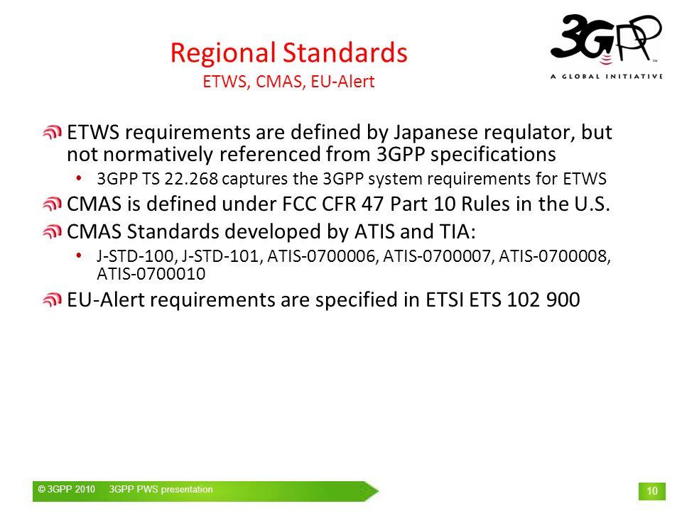 © 3GPP 2009 Mobile World Congress, Barcelona, 19 th February 2009© 3GPP 2010 3GPP PWS presentation 10 Regional Standards ETWS, CMAS, EU-Alert ETWS req
