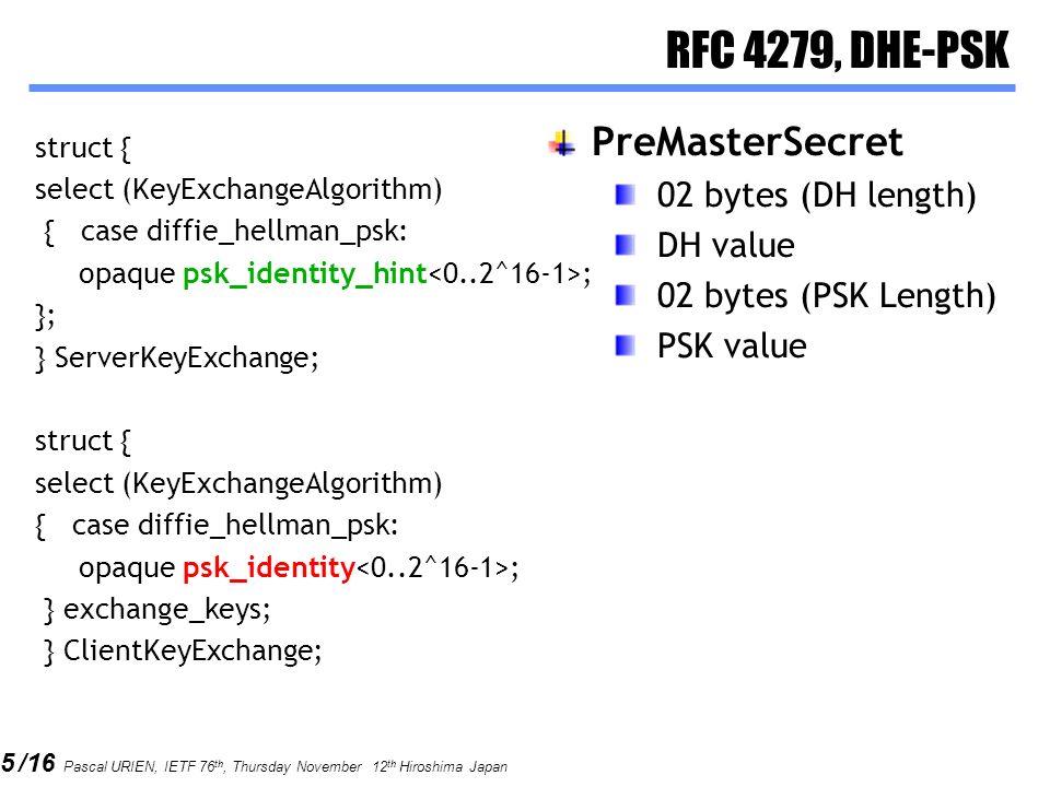 5 /16 Pascal URIEN, IETF 76 th, Thursday November 12 th Hiroshima Japan RFC 4279, DHE-PSK struct { select (KeyExchangeAlgorithm) { case diffie_hellman_psk: opaque psk_identity_hint ; }; } ServerKeyExchange; struct { select (KeyExchangeAlgorithm) { case diffie_hellman_psk: opaque psk_identity ; } exchange_keys; } ClientKeyExchange; PreMasterSecret 02 bytes (DH length) DH value 02 bytes (PSK Length) PSK value