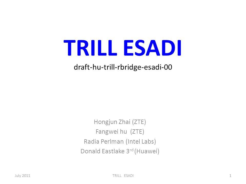TRILL ESADI draft-hu-trill-rbridge-esadi-00 Hongjun Zhai (ZTE) Fangwei hu (ZTE) Radia Perlman (Intel Labs) Donald Eastlake 3 rd (Huawei) July 20111TRILL ESADI