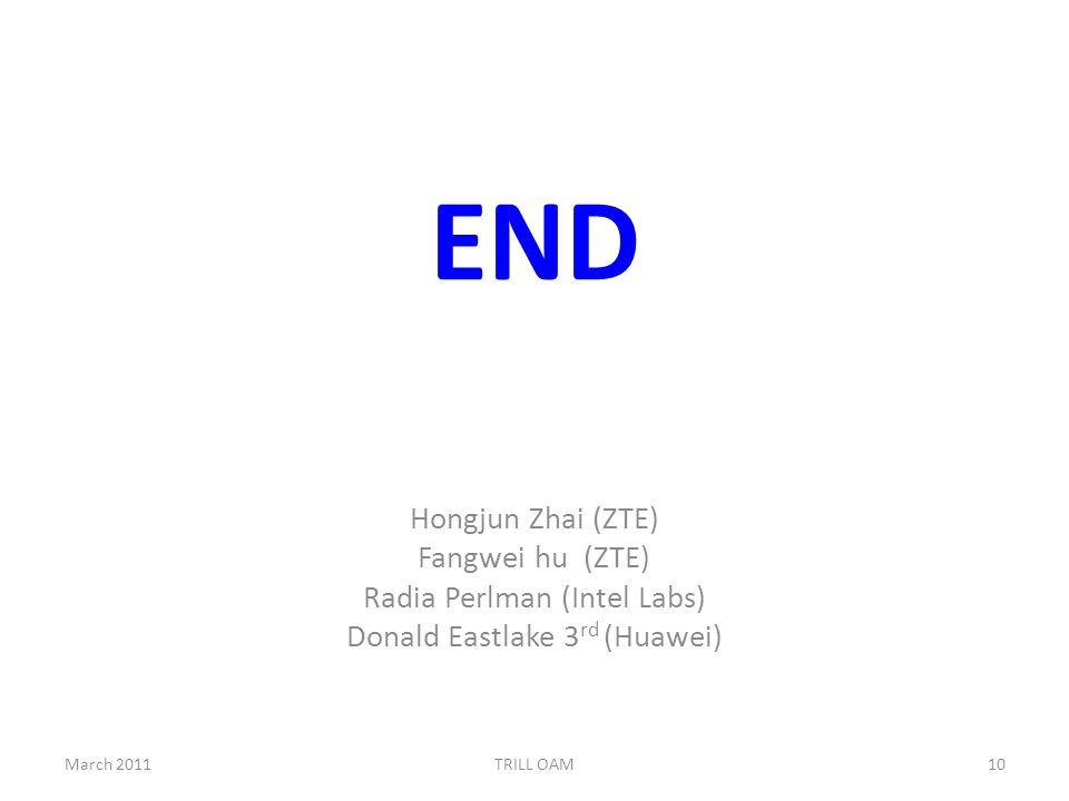 END March 201110TRILL OAM Hongjun Zhai (ZTE) Fangwei hu (ZTE) Radia Perlman (Intel Labs) Donald Eastlake 3 rd (Huawei)
