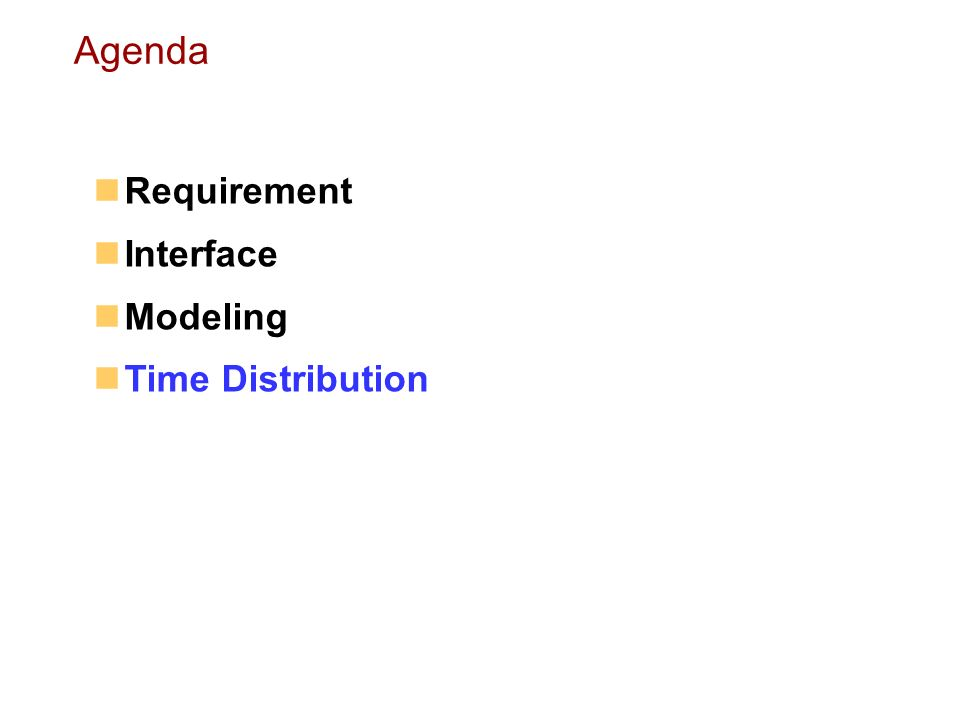 Requirement Interface Modeling Time Distribution Agenda