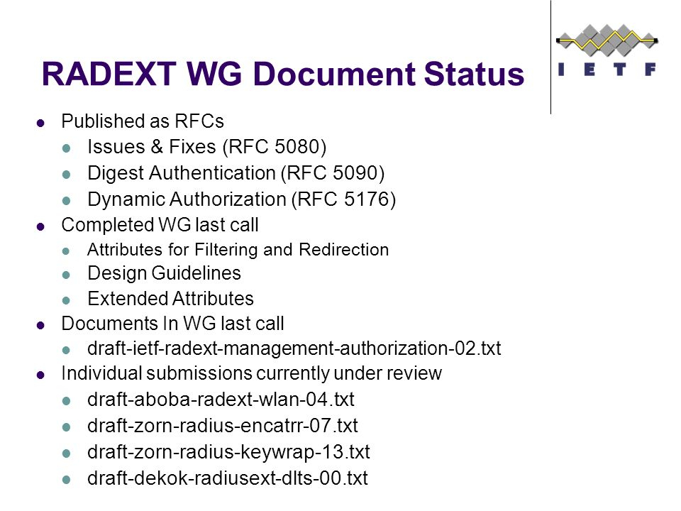 RADEXT WG Document Status Published as RFCs Issues & Fixes (RFC 5080) Digest Authentication (RFC 5090) Dynamic Authorization (RFC 5176) Completed WG last call Attributes for Filtering and Redirection Design Guidelines Extended Attributes Documents In WG last call draft-ietf-radext-management-authorization-02.txt Individual submissions currently under review draft-aboba-radext-wlan-04.txt draft-zorn-radius-encatrr-07.txt draft-zorn-radius-keywrap-13.txt draft-dekok-radiusext-dlts-00.txt