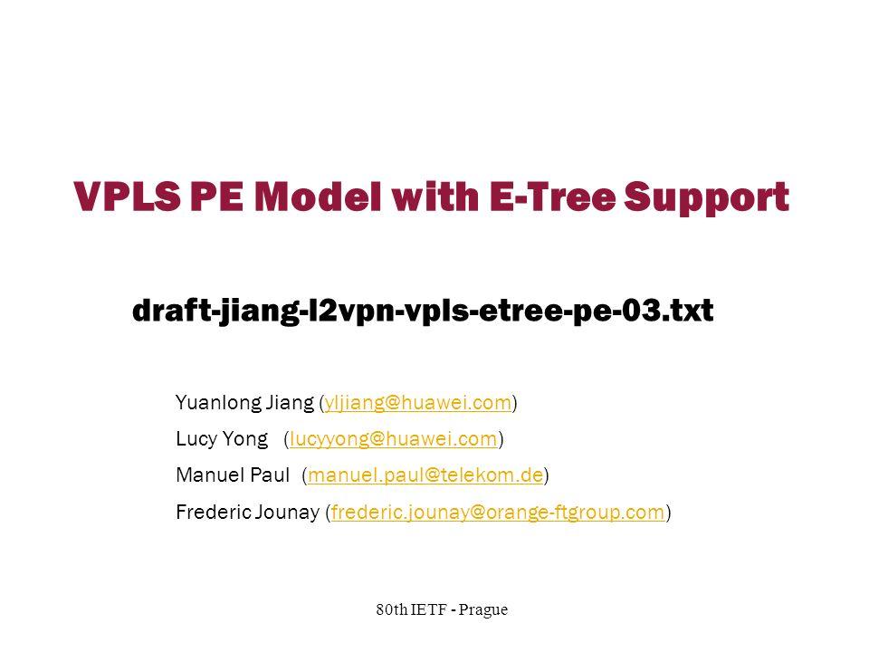Copyright © 2004 Juniper Networks, Inc. Proprietary and Confidentialwww.juniper.net 1 80th IETF - Prague VPLS PE Model with E-Tree Support Yuanlong Ji
