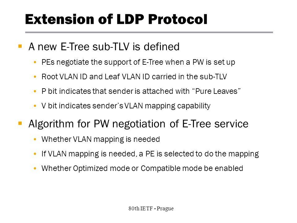 5 Copyright © 2004 Juniper Networks, Inc. Proprietary and Confidentialwww.juniper.net 80th IETF - Prague Extension of LDP Protocol A new E-Tree sub-TL