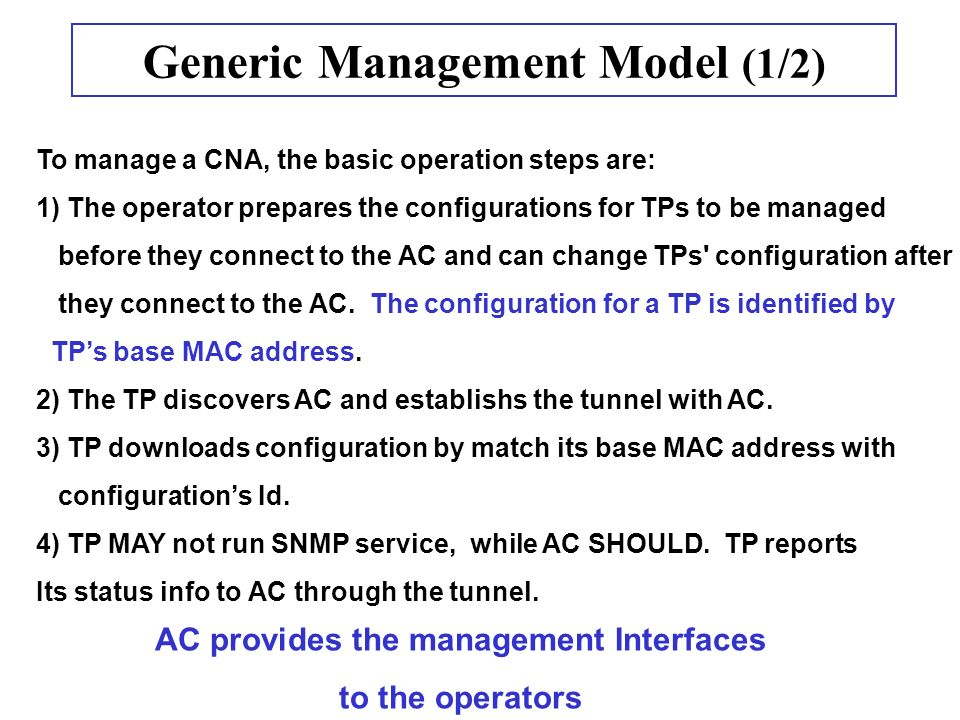 Generic Management Model (1/2) To manage a CNA, the basic operation steps are: 1) The operator prepares the configurations for TPs to be managed before they connect to the AC and can change TPs configuration after they connect to the AC.