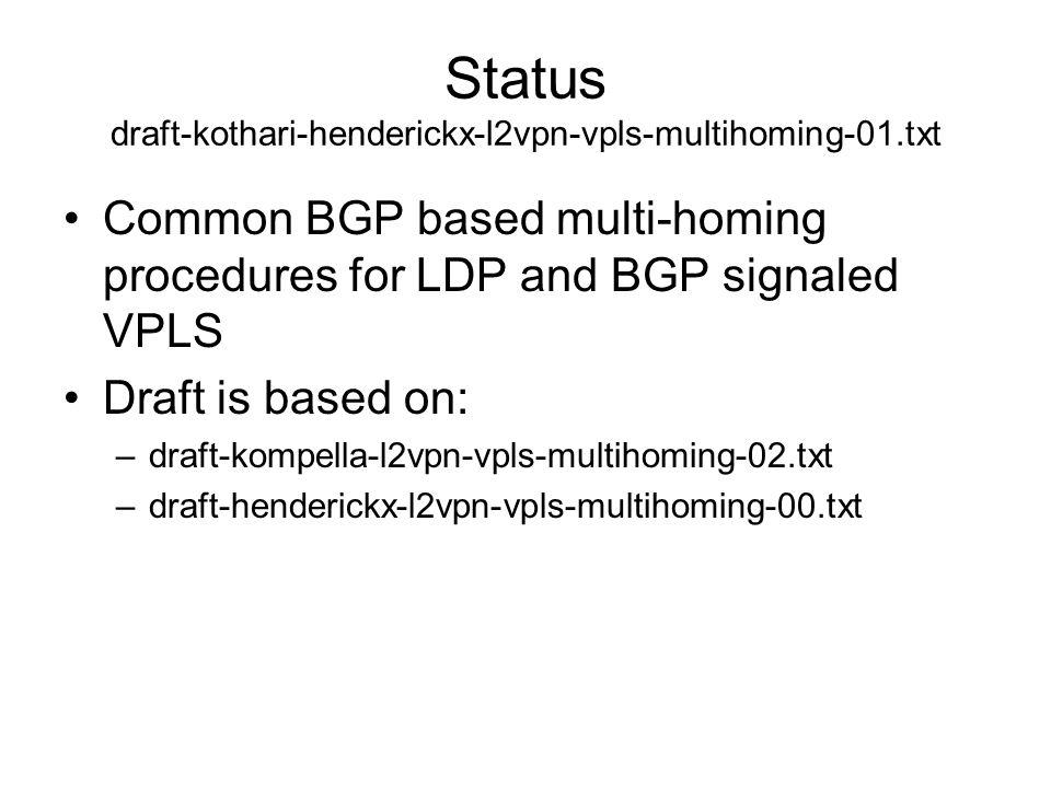 Status draft-kothari-henderickx-l2vpn-vpls-multihoming-01.txt Common BGP based multi-homing procedures for LDP and BGP signaled VPLS Draft is based on
