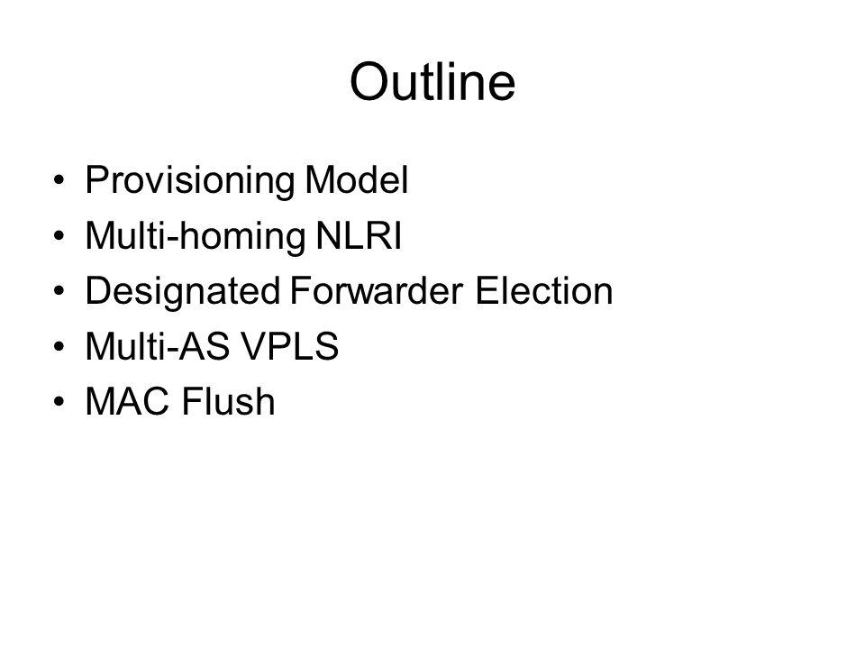 Outline Provisioning Model Multi-homing NLRI Designated Forwarder Election Multi-AS VPLS MAC Flush