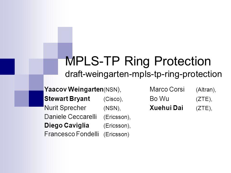 MPLS-TP Ring Protection draft-weingarten-mpls-tp-ring-protection Yaacov Weingarten (NSN ),Marco Corsi (Altran), Stewart Bryant (Cisco), Bo Wu (ZTE), N