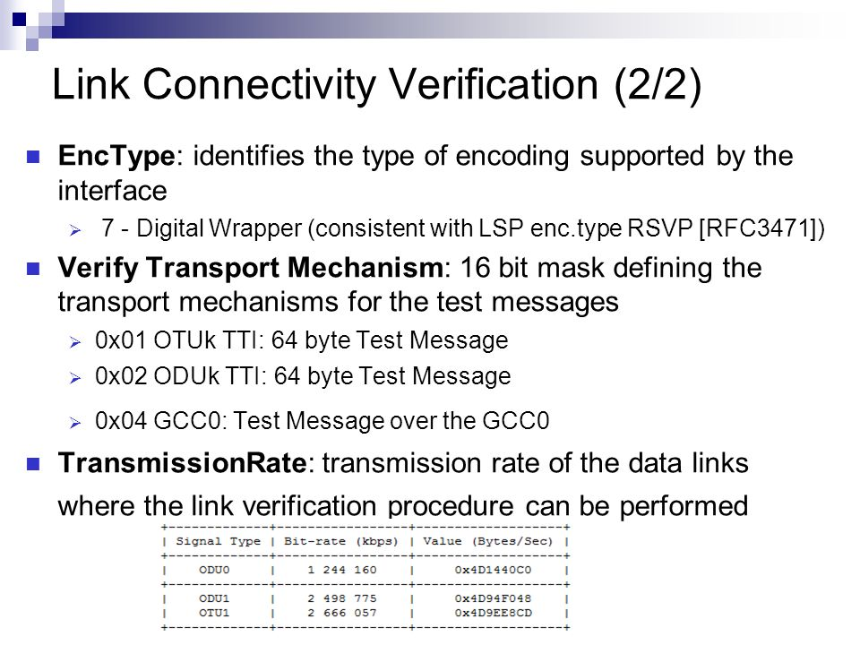 Link Connectivity Verification (2/2) EncType: identifies the type of encoding supported by the interface 7 - Digital Wrapper (consistent with LSP enc.type RSVP [RFC3471]) Verify Transport Mechanism: 16 bit mask defining the transport mechanisms for the test messages 0x01 OTUk TTI: 64 byte Test Message 0x02 ODUk TTI: 64 byte Test Message 0x04 GCC0: Test Message over the GCC0 TransmissionRate: transmission rate of the data links where the link verification procedure can be performed