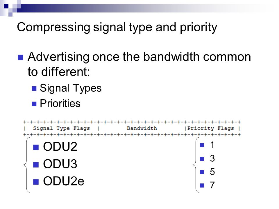 Compressing signal type and priority Advertising once the bandwidth common to different: Signal Types Priorities ODU2 ODU3 ODU2e 1 3 5 7