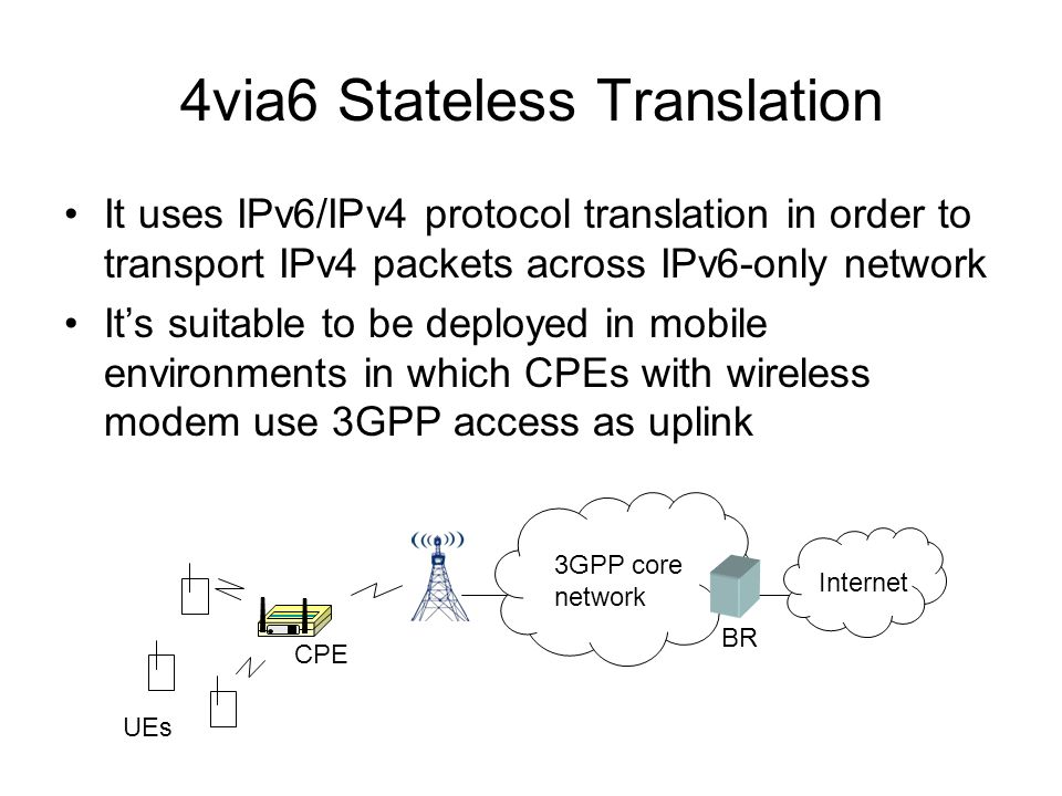 4via6 Stateless Translation It uses IPv6/IPv4 protocol translation in order to transport IPv4 packets across IPv6-only network Its suitable to be deployed in mobile environments in which CPEs with wireless modem use 3GPP access as uplink 3GPP core network Internet CPE UEs BR