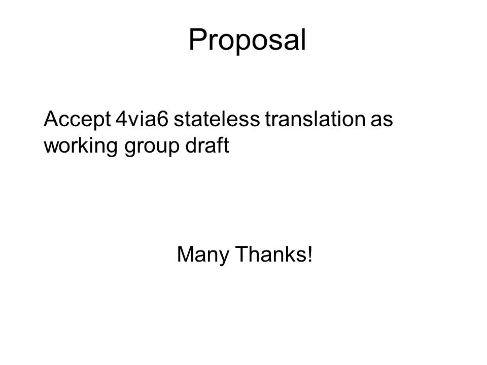 Accept 4via6 stateless translation as working group draft Many Thanks! Proposal