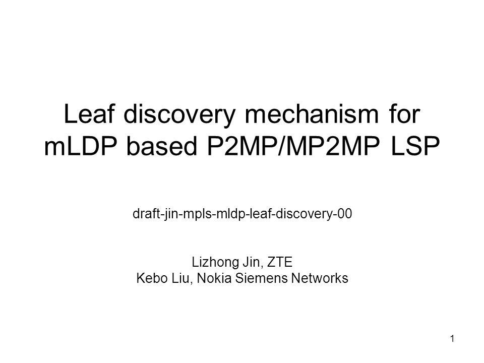 1 Leaf discovery mechanism for mLDP based P2MP/MP2MP LSP draft-jin-mpls-mldp-leaf-discovery-00 Lizhong Jin, ZTE Kebo Liu, Nokia Siemens Networks