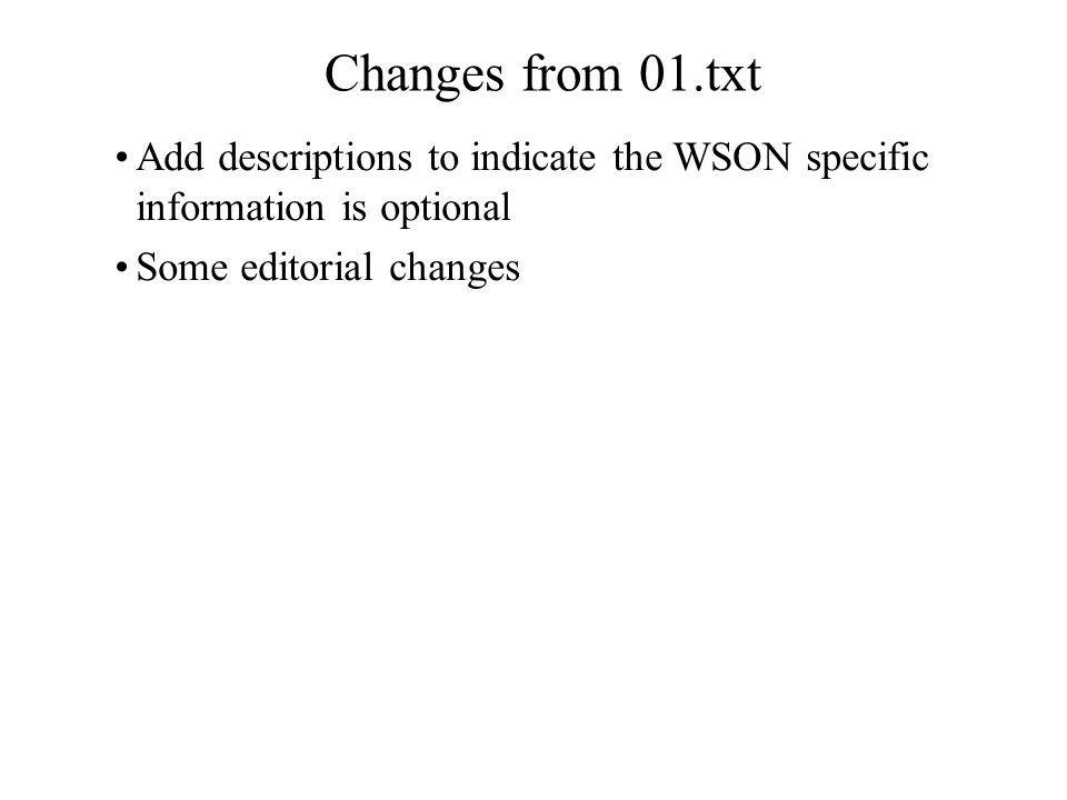 Changes from 01.txt Add descriptions to indicate the WSON specific information is optional Some editorial changes