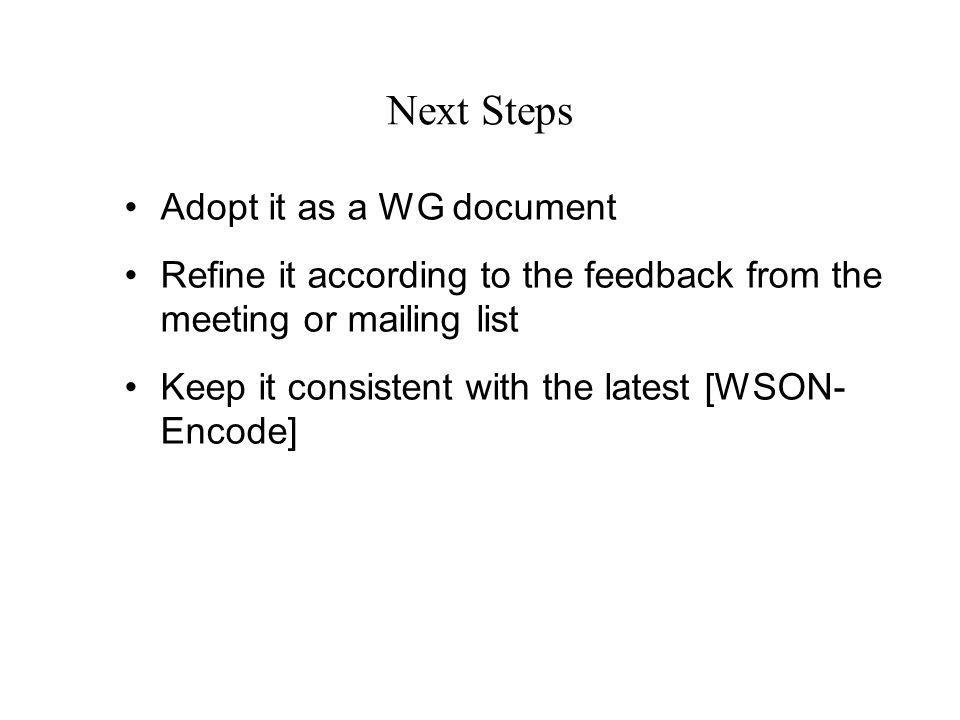 Next Steps Adopt it as a WG document Refine it according to the feedback from the meeting or mailing list Keep it consistent with the latest [WSON- Encode]
