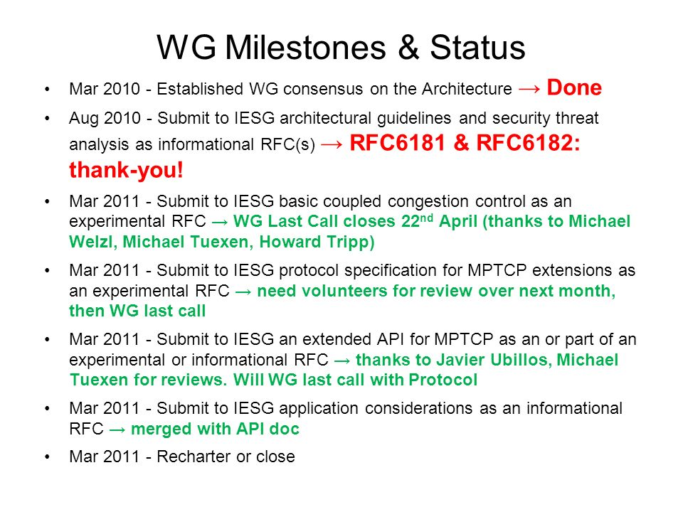 WG Milestones & Status Mar Established WG consensus on the Architecture Done Aug Submit to IESG architectural guidelines and security threat analysis as informational RFC(s) RFC6181 & RFC6182: thank-you.