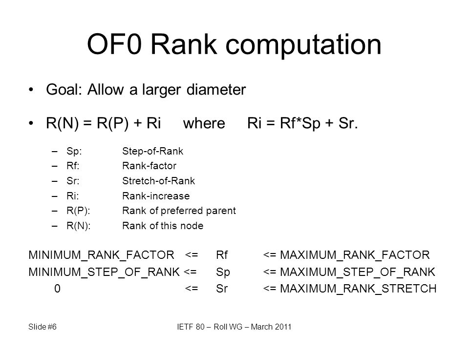 OF0 Rank computation Goal: Allow a larger diameter R(N) = R(P) + Ri where Ri = Rf*Sp + Sr.